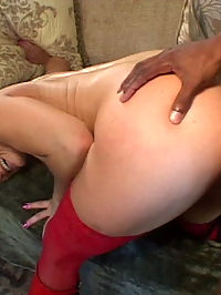 Thick black dick gets great head action by slutty blonde in red boots