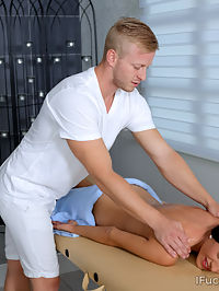 Muscular lad oils a hot smoking chick on massage table : Talented dude gives a hottie a full body massage to make her relax after a long weekRead more!