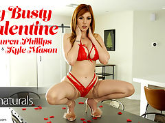 My Busty Valentine - S10E10 : pLauren Phillips is ready for Valentines Day as she decks her bigtit bod out in a sheer thong, thigh-high stockings, and a dress that highlights every curve. She leaves a trail of rose petals for Kyle Mason to follow. When he does just that, he finds Lauren splayed out in bed with only a few small articles of clothing between Kyles hands and her body.ppDespite the temptation of Laurens hairy twat, Kyle starts his day out with the buffet of Laurens breasts. Her big boobs easily pop from the top of her dress, making it easy for Kyle to palm the huge globes and lap away at Laurens hard nipples. Lauren even enjoys a taste of her own jugs as Kyle continues his exploration of her body.ppSliding a hand between Laurens thighs, Kyle adds pussy pressure to the maelstrom of feeling that hes creating in his lovers belly. Lauren presses Kyles hand harder against her, grinding her hips against his palm. When Kyle dips his head and pulls her thong aside, Lauren cant spread her thighs fast enough to welcome him in for a pussy feast.ppNot to leave Kyle hanging, Lauren gets on her knees before him. She pulls his dick out, finding it nice and hard to stroke with both hands. Leaning in, she licks her lips as she opens her mouth to begin sucking him off. Theres only one thing that could seduce Lauren away from her blowjob, and that is getting the D. Kyle is happy to deliver!ppHe kickstarts their fuckfest by paying Lauren down on the table and spreading her legs so he can step between them. Sliding deep inside, he gives her a moment to get used to it before he starts with slow, long strokes. Picking up the pace, Kyle gives it to Lauren until shes squealing her sensual delight.ppAs Lauren comes down from her first climax, she slides off the table and gets to her feet. Leaning forward, she presents her fuck hole for another round of fun. Kyle is quick to take her up on the sensual invitation, shoving back inside and riding her hard so that her titties bounce w